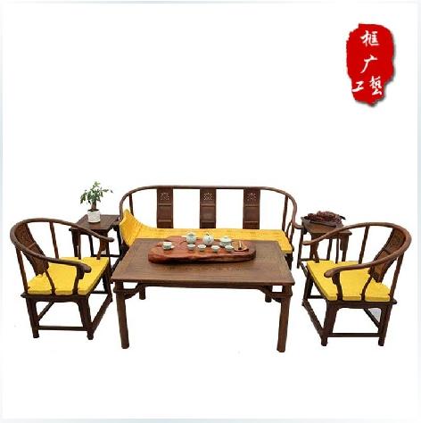 鸡翅木功夫茶桌 仿古明清中式实木茶台沙发 桌椅组合客厅家具