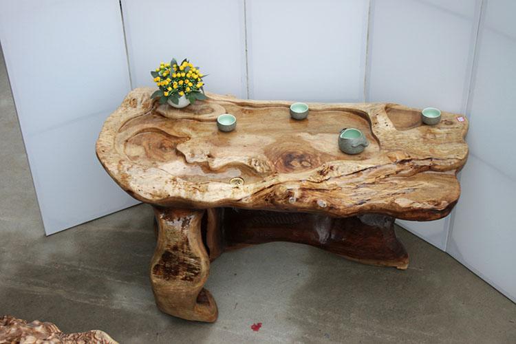 框广黄金樟根雕茶桌实木树根雕刻茶几