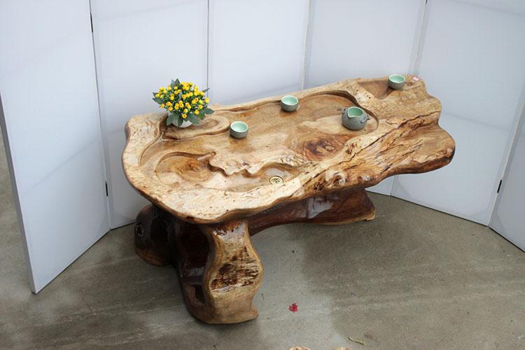 框广黄金樟根雕茶桌实木树根雕刻茶几-258.com企业