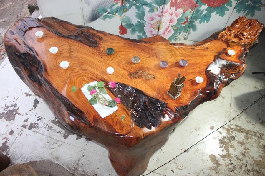 老挝 天然花梨 根雕茶桌 木雕老树根茶台茶海 天然实木茶几