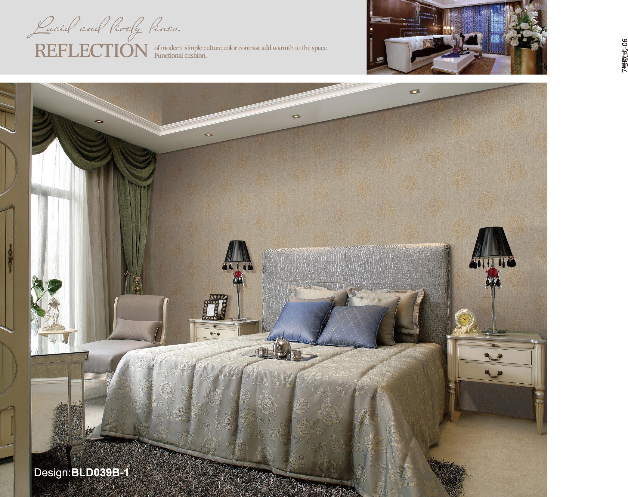 欧式木加皮沙发背景墙布效果图