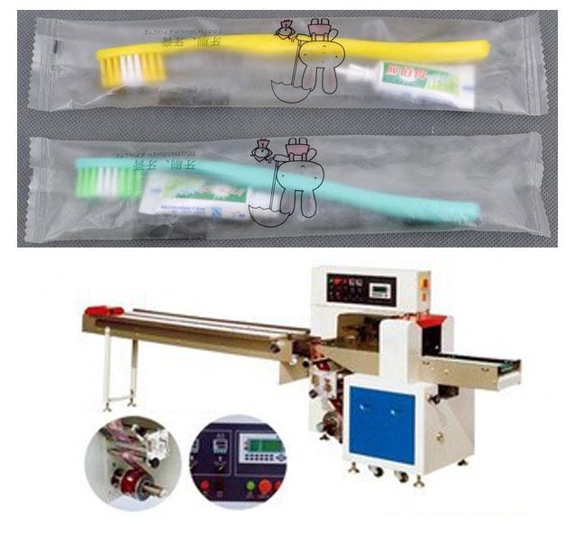 牙刷包装机,一次性牙刷+牙膏套装包装机