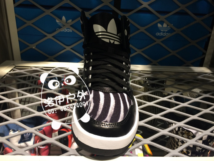adidas三叶草女鞋 斑马纹运动鞋高帮休闲板鞋 批发代理