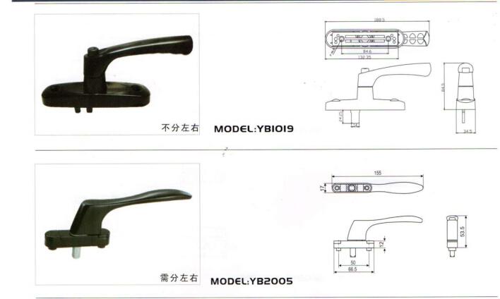 广东划算的多点锁方轴式把手yb1019 潮州门窗拉手