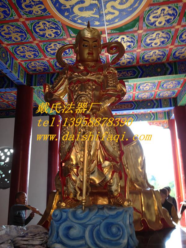 大渡口寺院韦陀像,戴氏法器厂专业供应贴金韦陀铜像