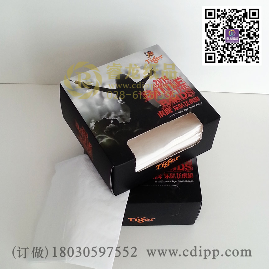 睿龙纸品供应划算的印花餐巾纸定制:四川广告抽纸厂