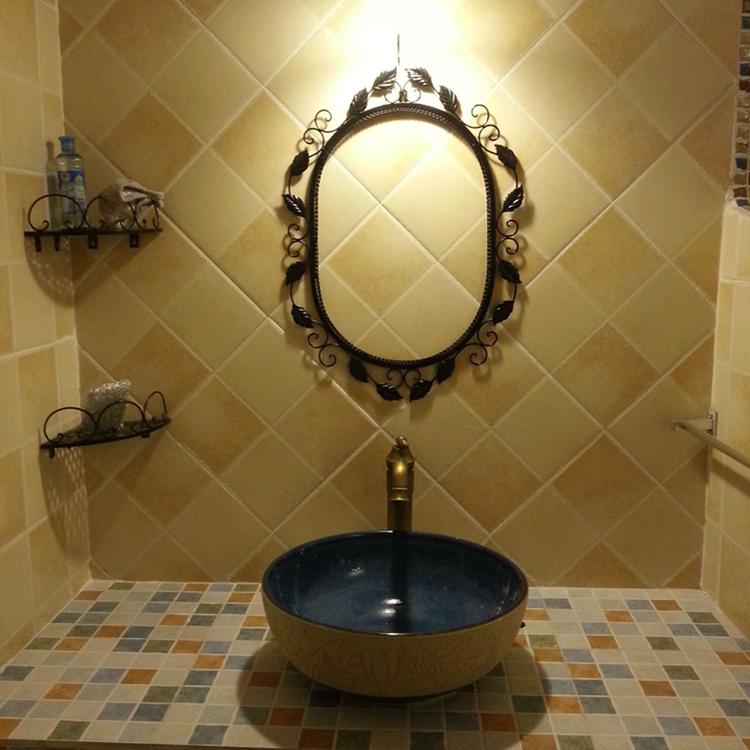 欧式铁艺镜子 浴室镜 化妆镜 铁艺镜框