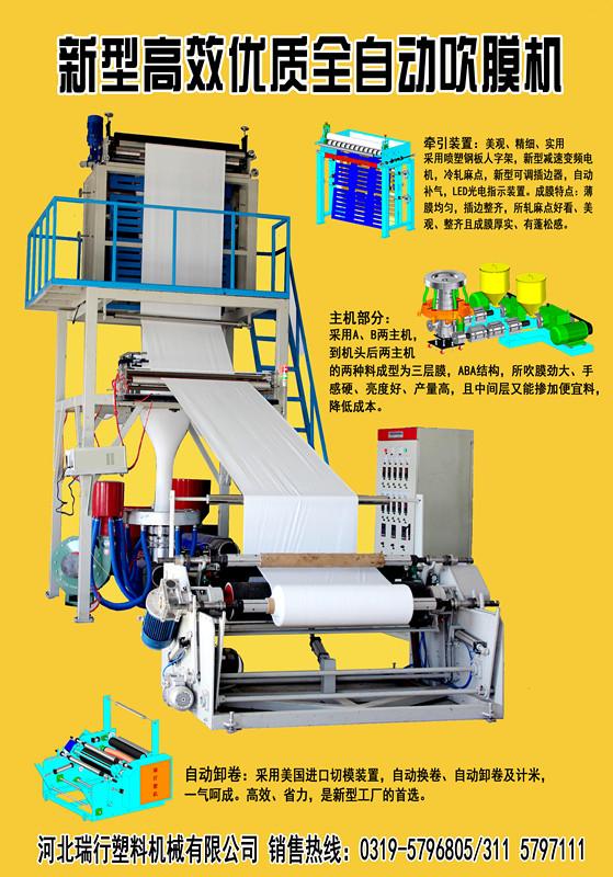 供应ABA自动卸卷吹膜机河北瑞行塑机