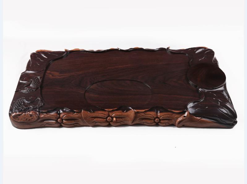 黑檀木实木整块雕刻茶盘手工雕荷花鱼茶盘