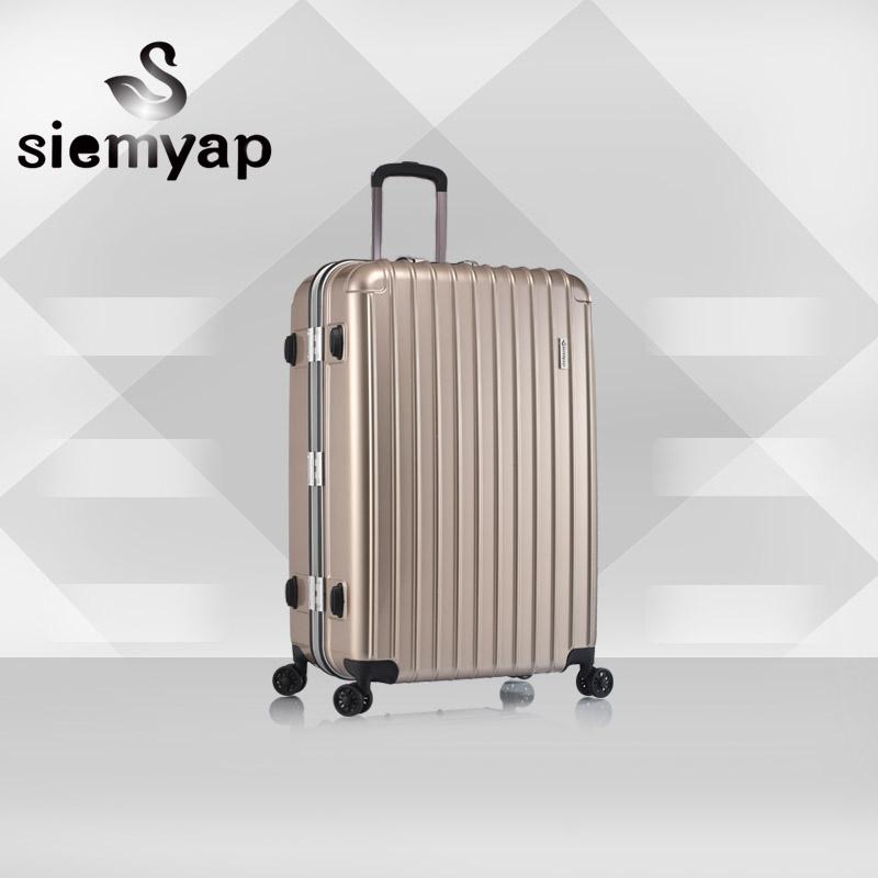 纯PC时尚拉杆万向轮TSA海关锁铝框旅游行李箱