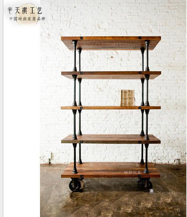 复古带轮可移动书柜 实木客厅展示柜