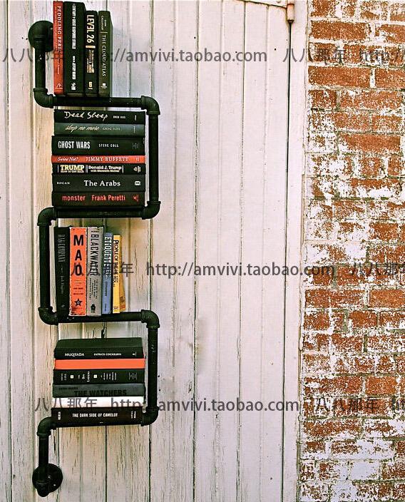 水管铁质金属书架 咖啡馆酒吧书架 客厅书房卧室书架