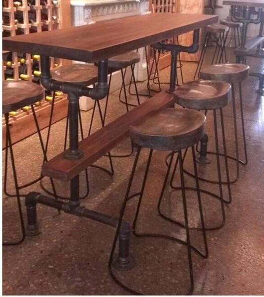 工业水管做旧复古咖啡桌 铁艺酒吧吧桌 长方形桌子