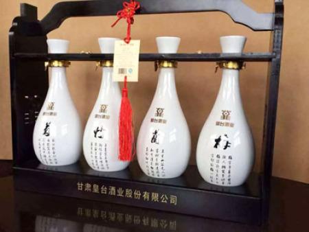 皇台梅兰竹菊木质酒架