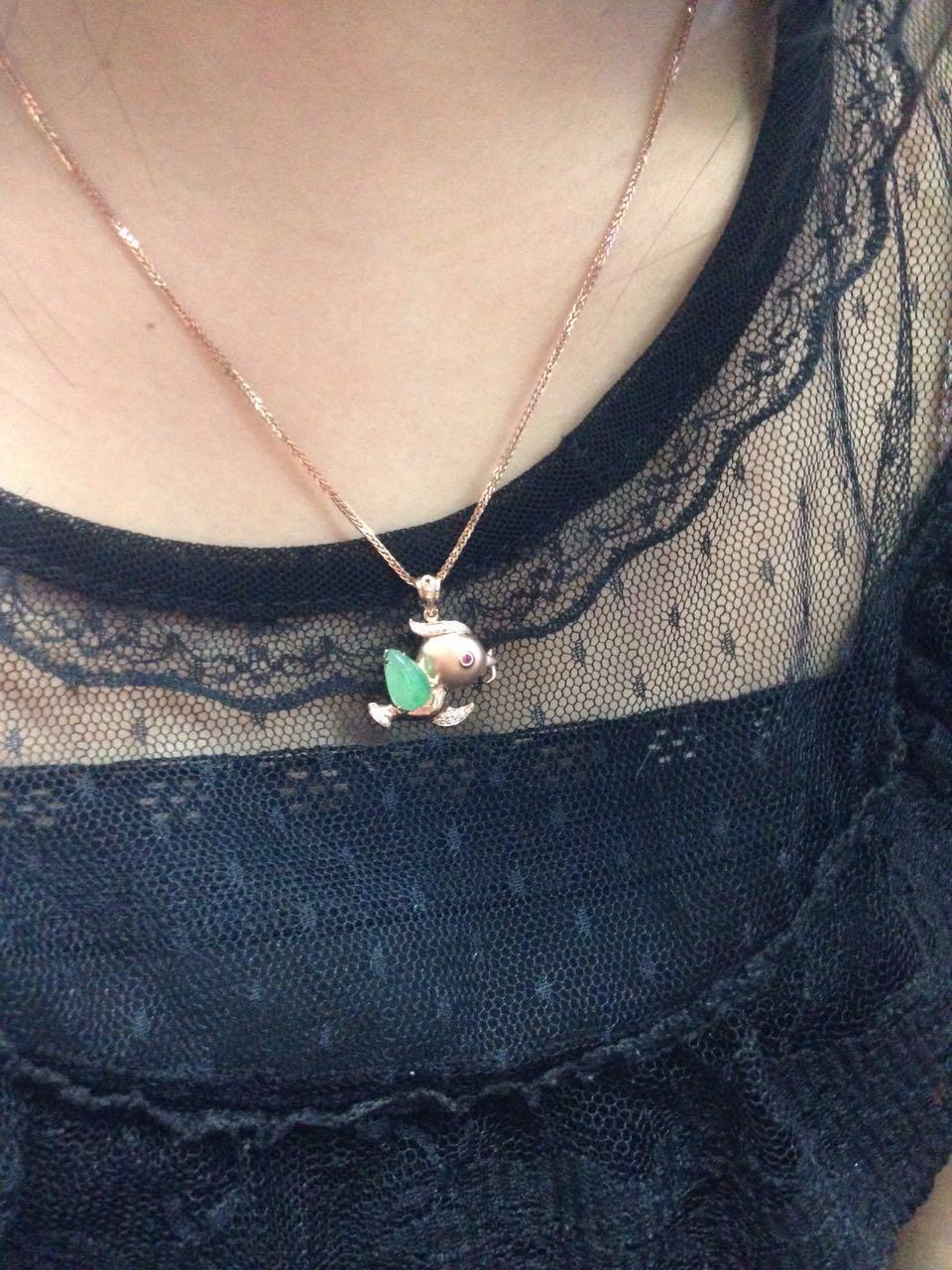 有利珠宝 天然缅甸翡翠A货阳绿小鸟吊坠 18K玫瑰金小鸟吊坠