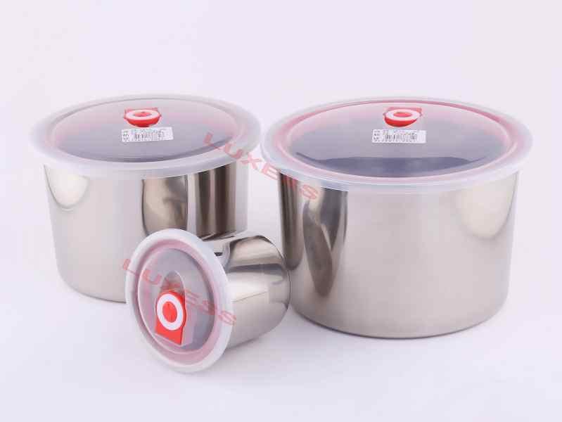不锈钢圆形密封保鲜罐304特厚密封罐套装大容量3000ML