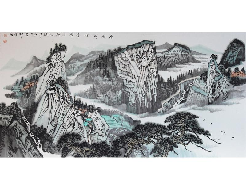 《***静含青嶂雨》 王雪峰画作