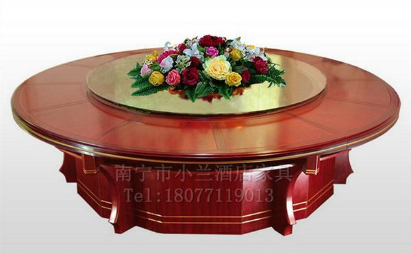 南宁酒店实木餐桌 KY-17玻璃转盘电动大圆桌