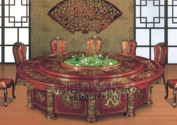 广西实木电动餐桌 实木雕刻餐桌KY-05