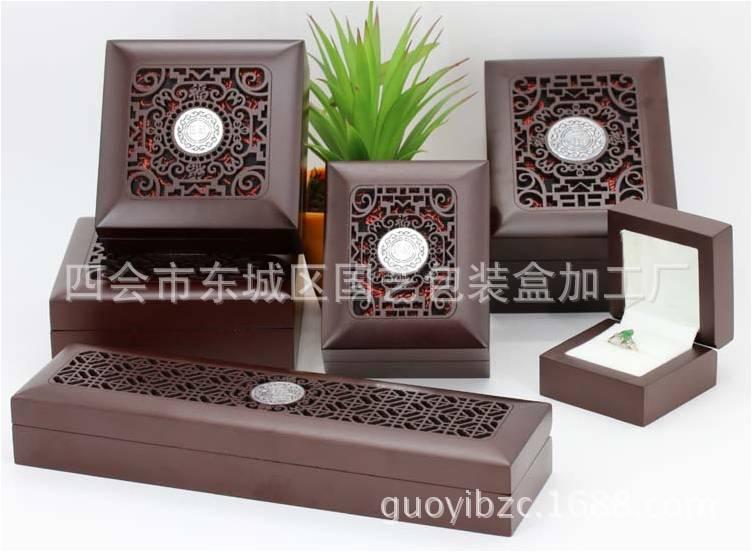 高档 珠宝首饰木盒 包装盒 定制 批发 喷漆雕刻镂空盒