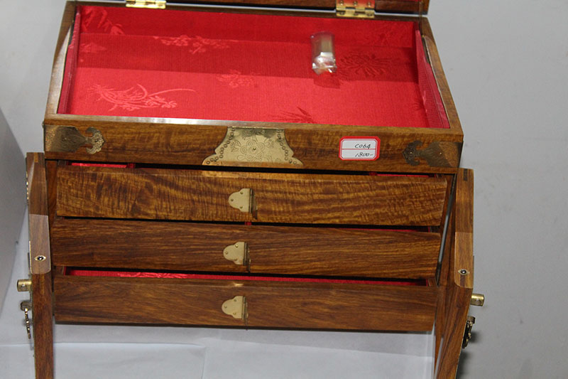 古典***花梨木珠宝盒 广西佳和极木馆首饰盒加工定制
