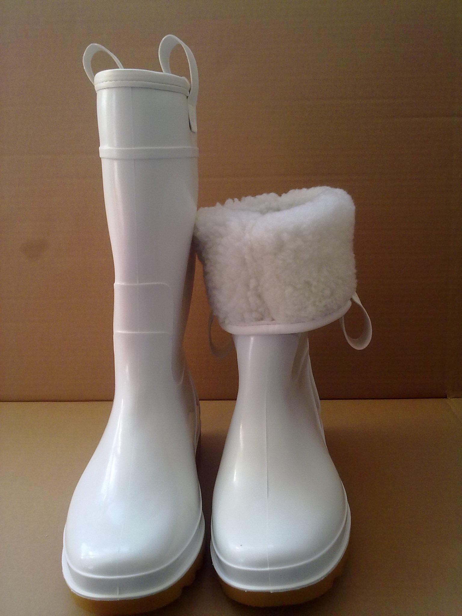 食品加棉雨靴 PVC棉雨鞋耐油耐酸碱棉胶鞋白色雨鞋食品冷库靴