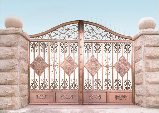 镀铜拉丝不锈钢庭院围墙门,免费送小样