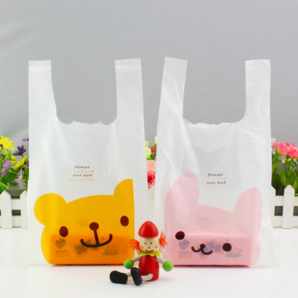 食品塑料手提包装袋 快餐打包马夹袋 小熊奶茶背心胶袋子