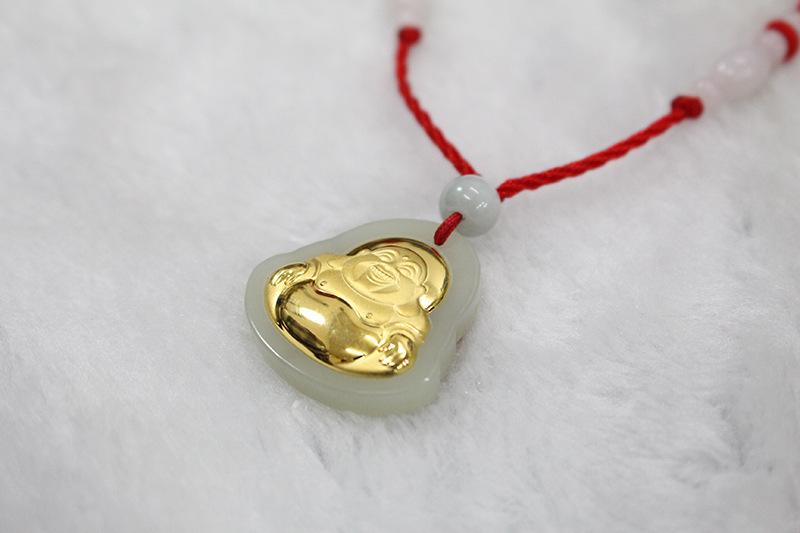 肇庆市高质量的金镶白玉佛公吊坠批发-玉石批发