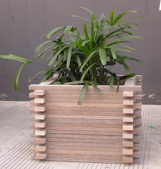 欧式木制花箱-市政工程花箱-木条纹花箱(振兴景观设施制造厂)