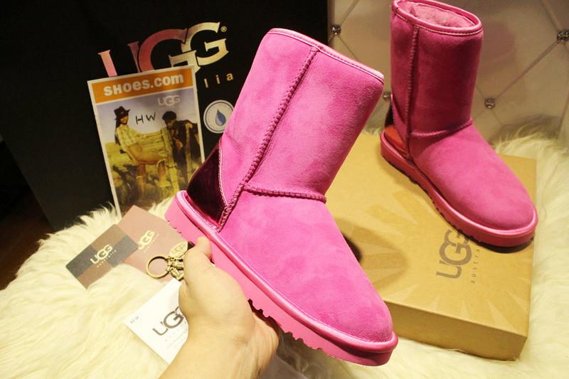 正品UGG1004302玫红色羊皮毛一体雪地靴厂家批发