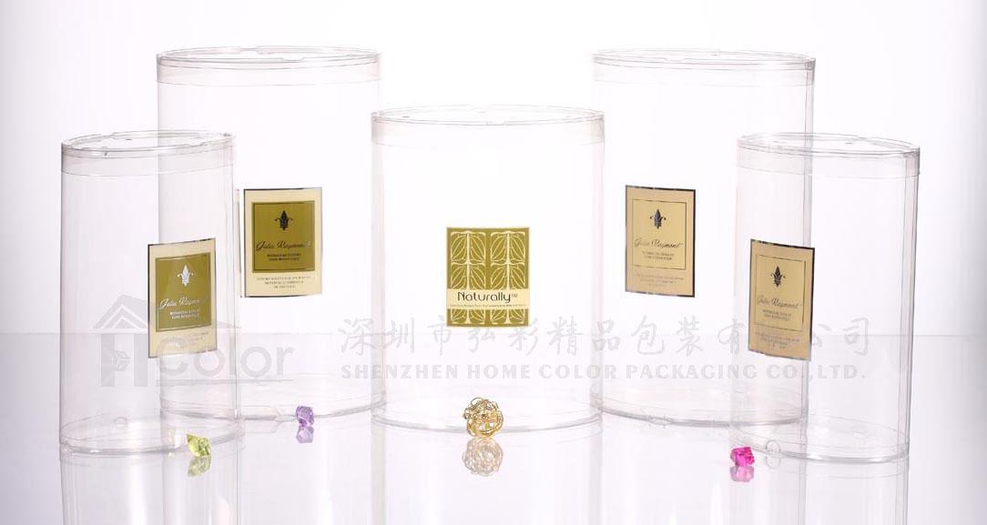 深圳平湖PVC包装盒厂 香水包装 PET圆筒 丝印+烫金