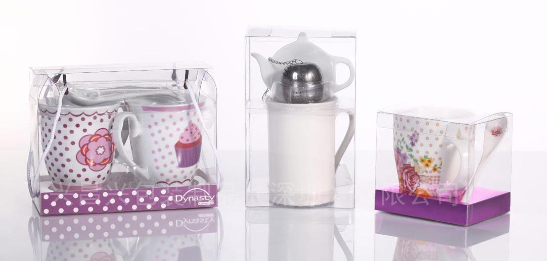 印刷PVC包装盒彩盒圆筒吸塑设计打样定制厂家 陶瓷茶具包装盒